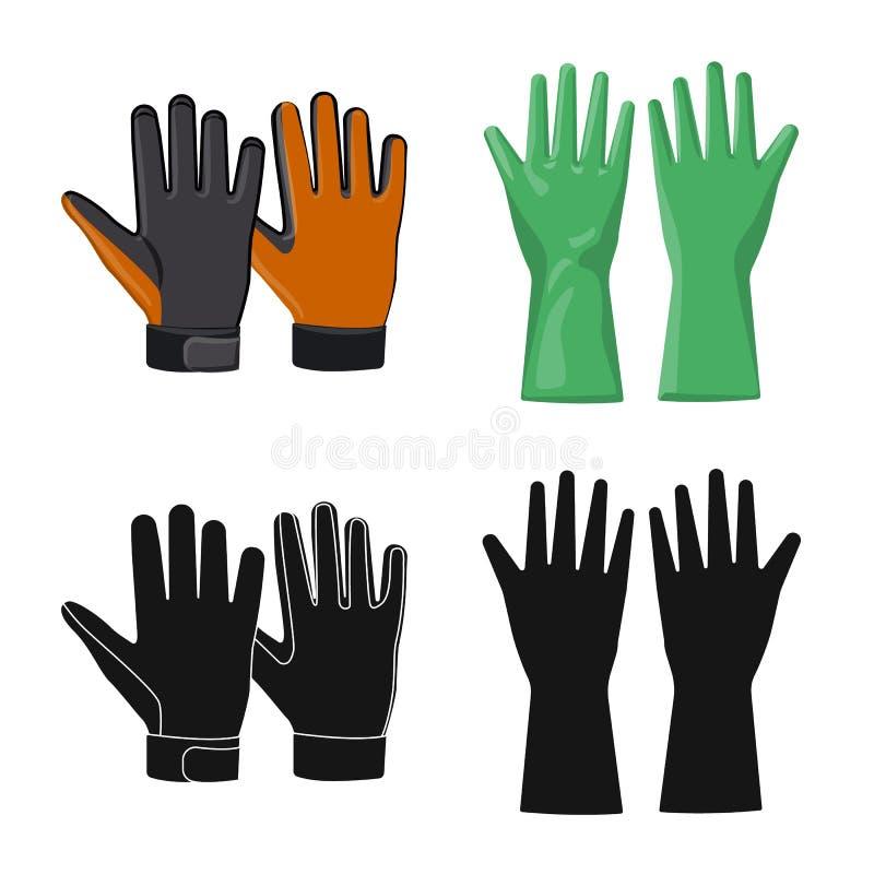 Odosobniony przedmiot rękawiczka i zima znak Kolekcja rękawiczki i wyposażenia akcyjny symbol dla sieci ilustracji