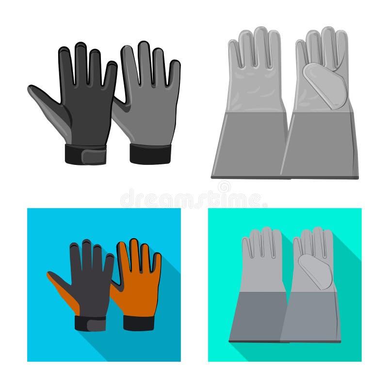 Odosobniony przedmiot rękawiczka i zima znak Set rękawiczki i wyposażenia akcyjny symbol dla sieci royalty ilustracja