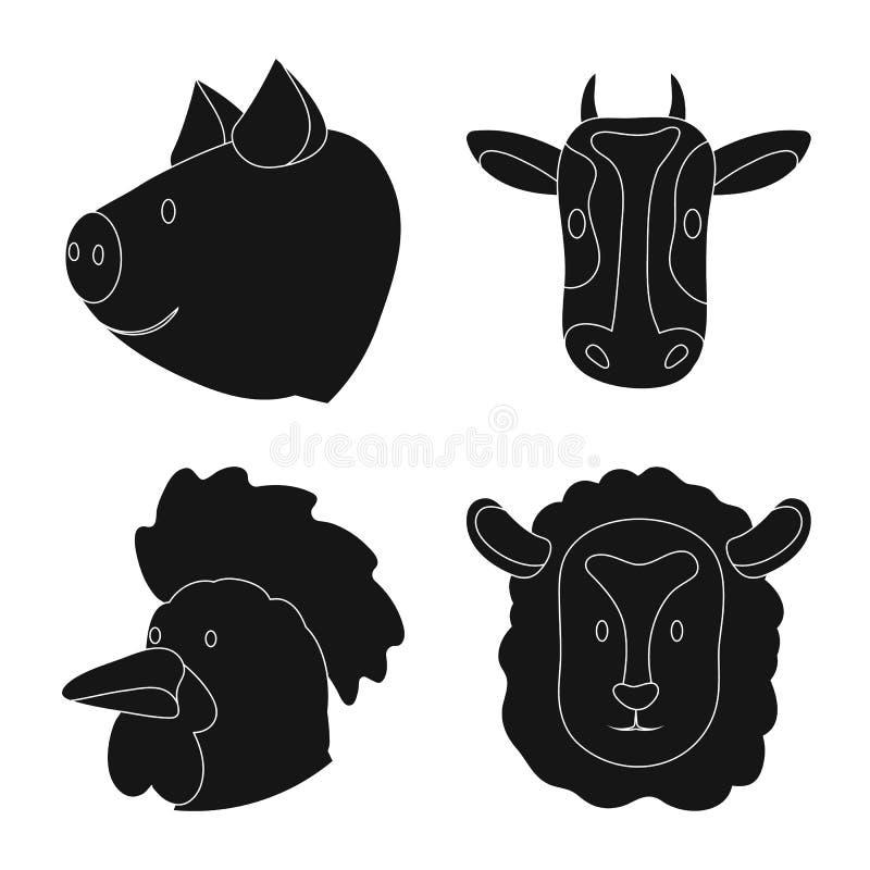 Odosobniony przedmiot rancho i organicznie ikona Set rancho i g?owy akcyjna wektorowa ilustracja royalty ilustracja