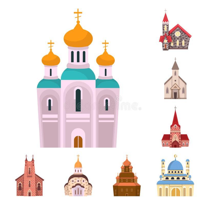 Odosobniony przedmiot religia i budynku symbol Kolekcja religii i wiary akcyjny symbol dla sieci ilustracja wektor