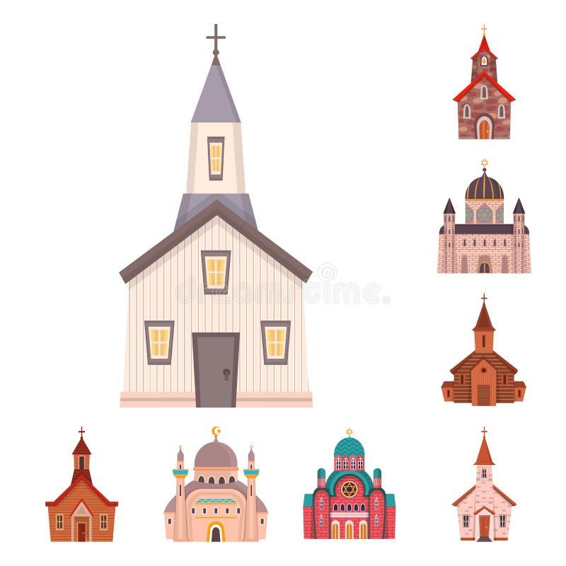 Odosobniony przedmiot religia i budynku znak Set religii i wiary akcyjna wektorowa ilustracja royalty ilustracja