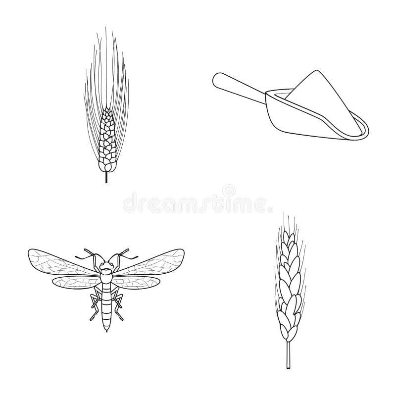 Odosobniony przedmiot rolnictwo i uprawia? ziemi? znak Set rolnictwo i ro?lina akcyjny symbol dla sieci ilustracji