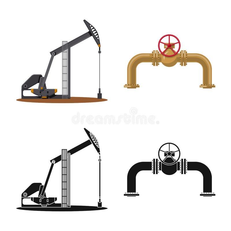 Odosobniony przedmiot ropa i gaz ikona Set oleju i benzyny akcyjna wektorowa ilustracja ilustracja wektor
