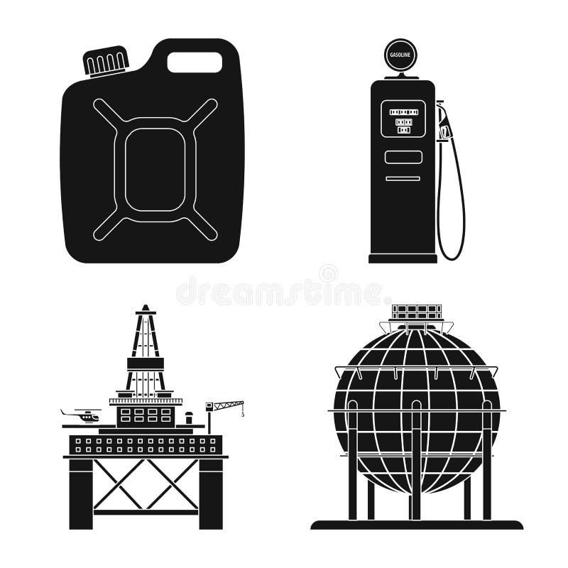 Odosobniony przedmiot ropa i gaz logo Set oleju i benzyny akcyjna wektorowa ilustracja ilustracja wektor