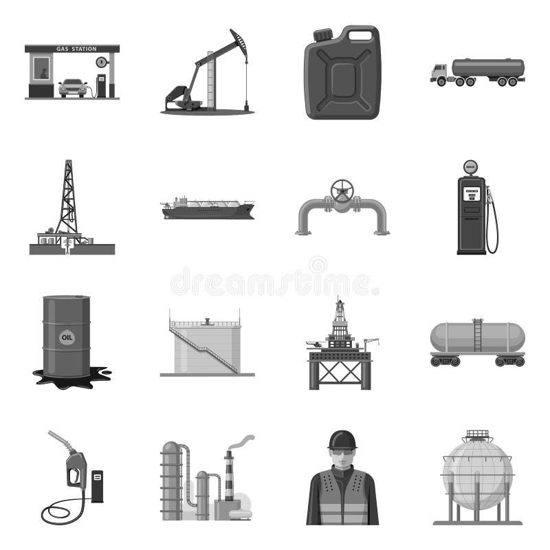 Odosobniony przedmiot ropa i gaz znak Set oleju i benzyny akcyjna wektorowa ilustracja ilustracji