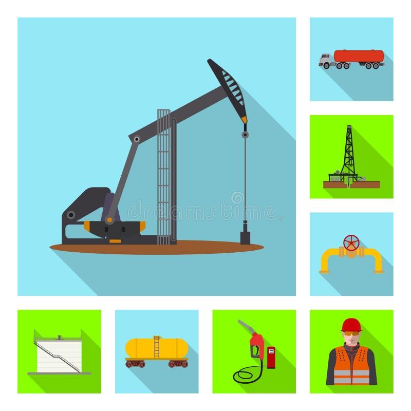 Odosobniony przedmiot ropa i gaz znak Set oleju i benzyny akcyjny symbol dla sieci ilustracja wektor