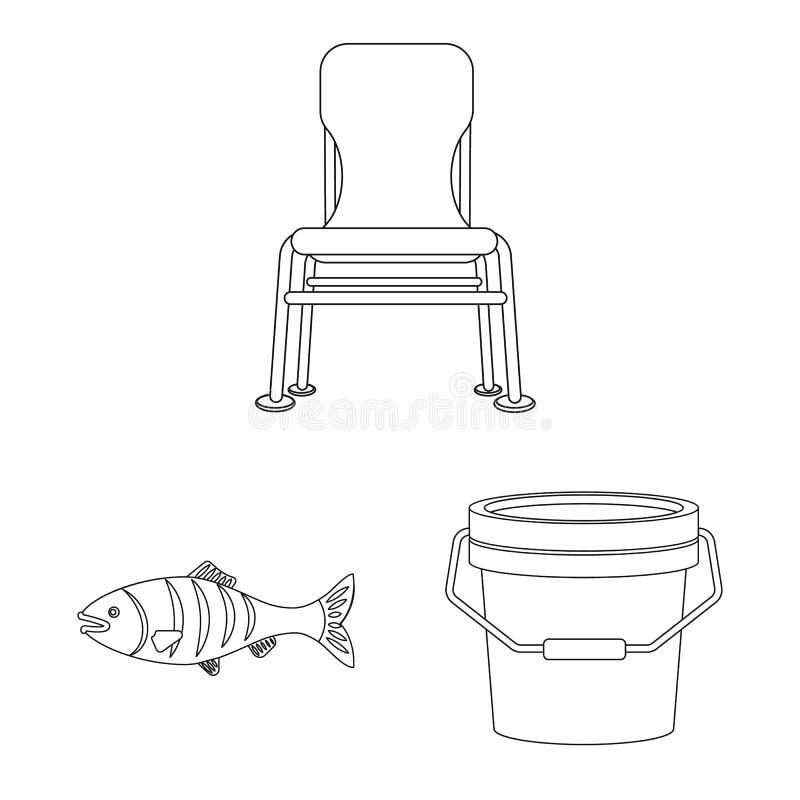 Odosobniony przedmiot ryba i po?owu ikona Set ryba i wyposa?enia akcyjny symbol dla sieci ilustracja wektor