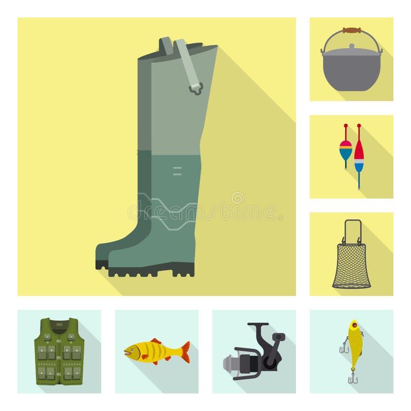 Odosobniony przedmiot ryba i po?owu logo Set ryba i wyposa?enia akcyjny symbol dla sieci ilustracji