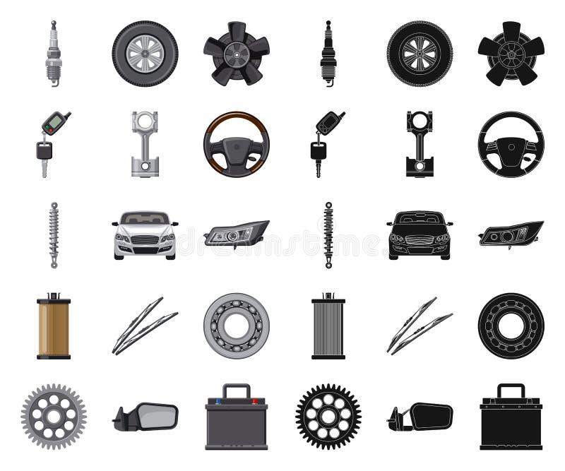 Odosobniony przedmiot samochodu i części ikona Set auto i samochodowa wektorowa ikona dla zapasu royalty ilustracja