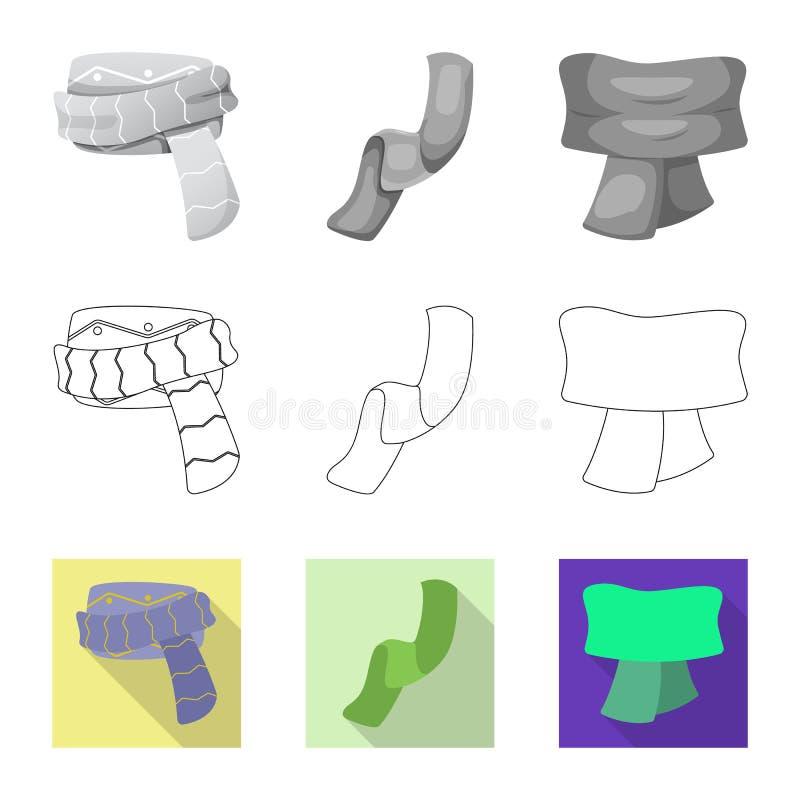 Odosobniony przedmiot szalika i chusty ikona Kolekcja szalika i akcesorium akcyjna wektorowa ilustracja ilustracja wektor