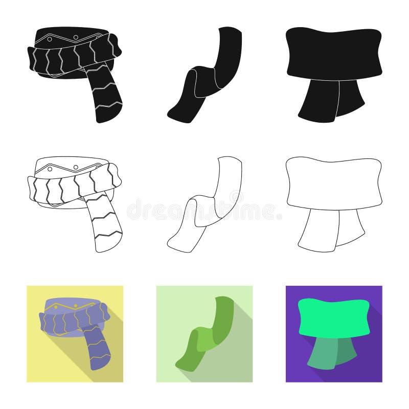 Odosobniony przedmiot szalika i chusty ikona Set szalika i akcesorium akcyjna wektorowa ilustracja royalty ilustracja
