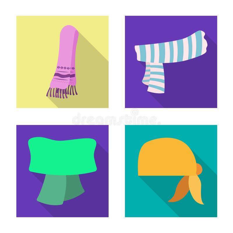 Odosobniony przedmiot szalika i chusty symbol Kolekcja szalika i akcesorium akcyjna wektorowa ilustracja royalty ilustracja