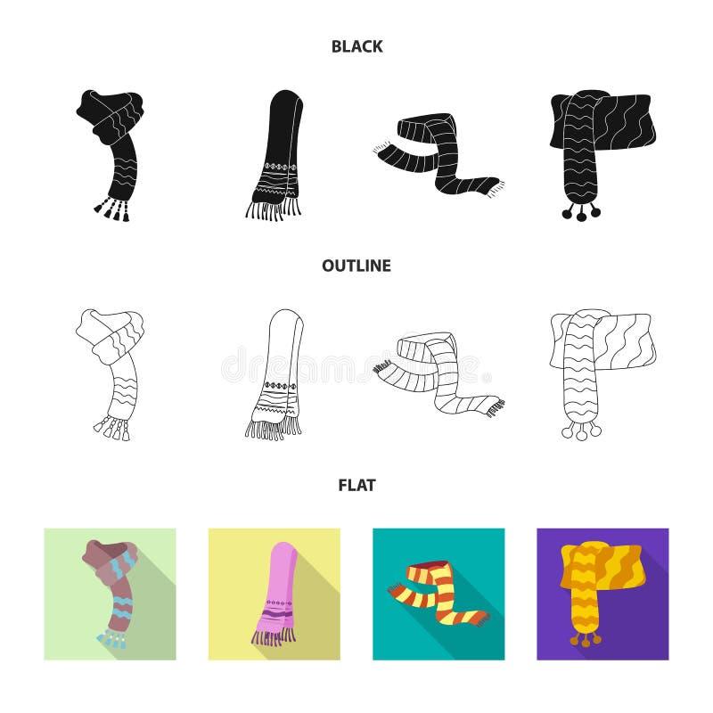 Odosobniony przedmiot szalika i chusty symbol Kolekcja szalik i akcesoryjny akcyjny symbol dla sieci ilustracja wektor