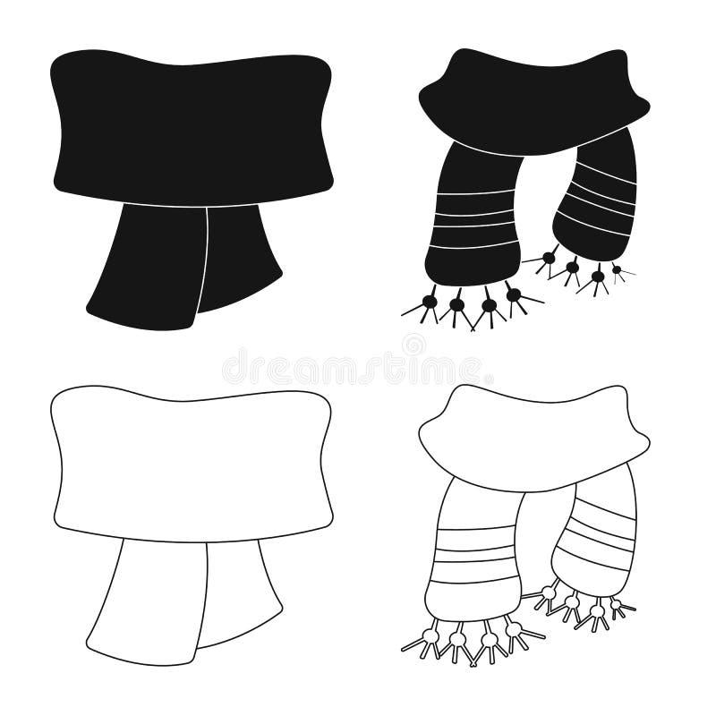 Odosobniony przedmiot szalika i chusty symbol Set szalika i akcesorium akcyjna wektorowa ilustracja ilustracja wektor