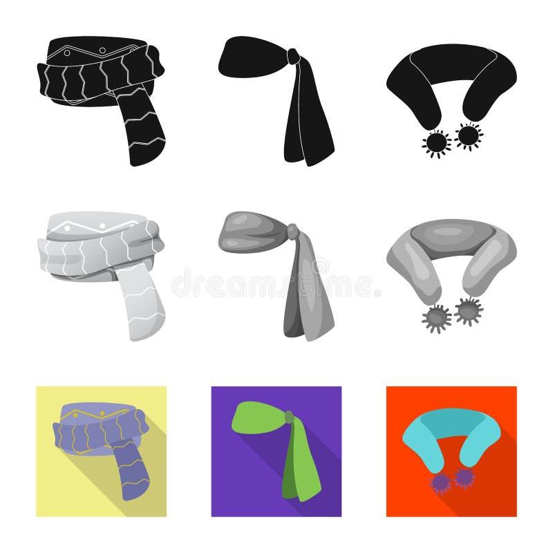 Odosobniony przedmiot szalika i chusty znak Kolekcja szalika i akcesorium akcyjna wektorowa ilustracja ilustracji