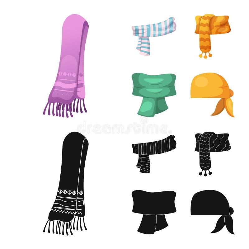 Odosobniony przedmiot szalika i chusty znak Kolekcja szalik i akcesoryjny akcyjny symbol dla sieci ilustracja wektor