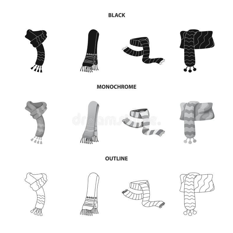 Odosobniony przedmiot szalika i chusty znak Set szalika i akcesorium akcyjna wektorowa ilustracja royalty ilustracja