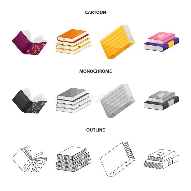 Odosobniony przedmiot szkolenia i pokrywy znak Set szkolenie i bookstore wektorowa ikona dla zapasu ilustracja wektor