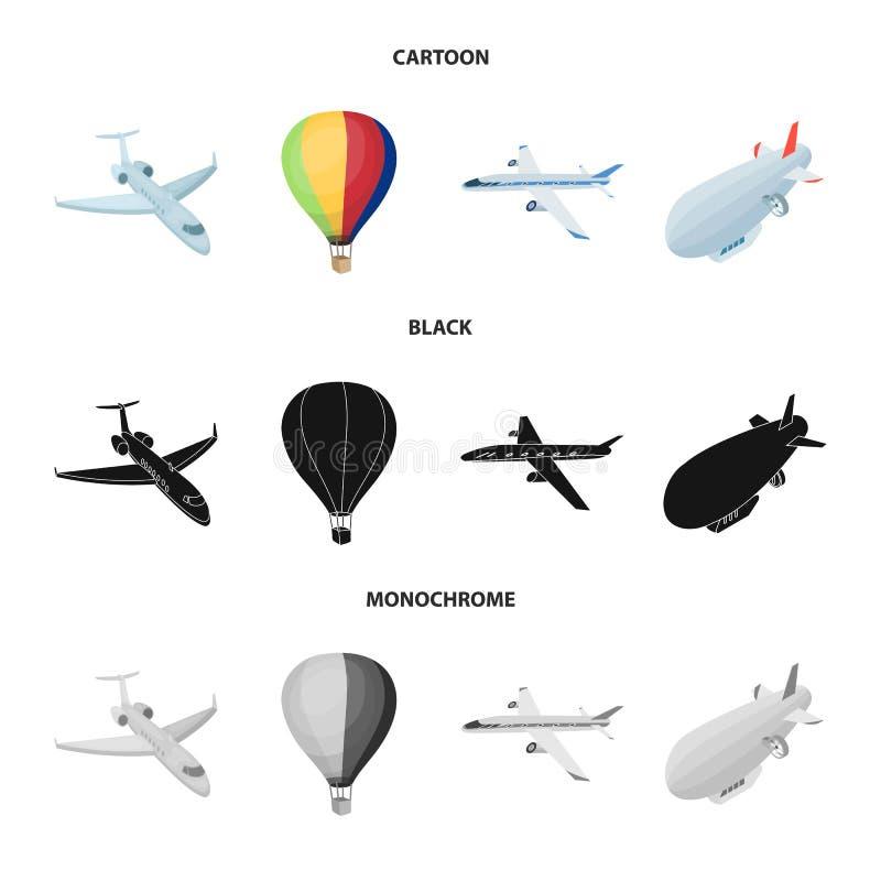 Odosobniony przedmiot transportu i przedmiota logo Kolekcja transportu i szybownictwa akcyjny symbol dla sieci ilustracja wektor