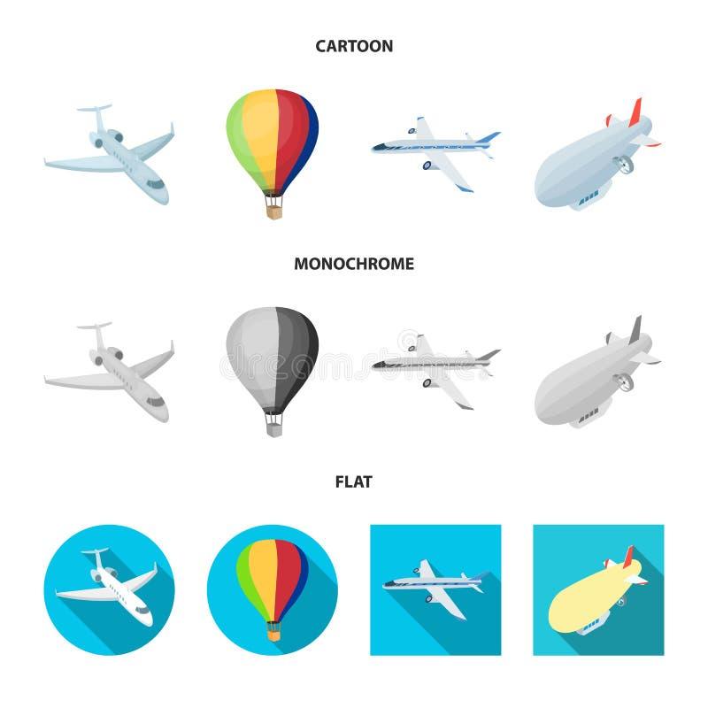Odosobniony przedmiot transportu i przedmiota logo Set transport i szybownictwo akcyjna wektorowa ilustracja royalty ilustracja