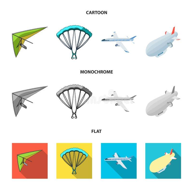 Odosobniony przedmiot transportu i przedmiota symbol Set transport i szybownictwo akcyjna wektorowa ilustracja ilustracji