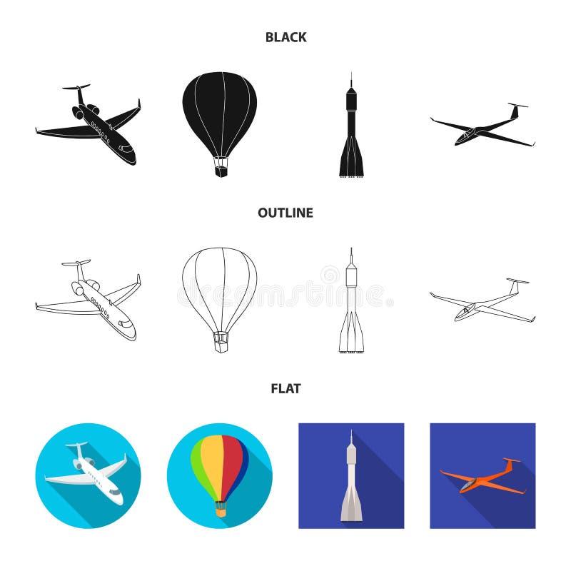 Odosobniony przedmiot transportu i przedmiota znak Set transportu i szybownictwa akcyjny symbol dla sieci ilustracji