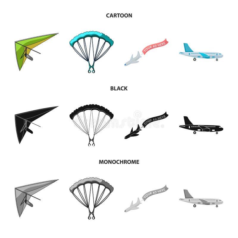 Odosobniony przedmiot transportu i przedmiota znak Set transportu i szybownictwa akcyjny symbol dla sieci royalty ilustracja