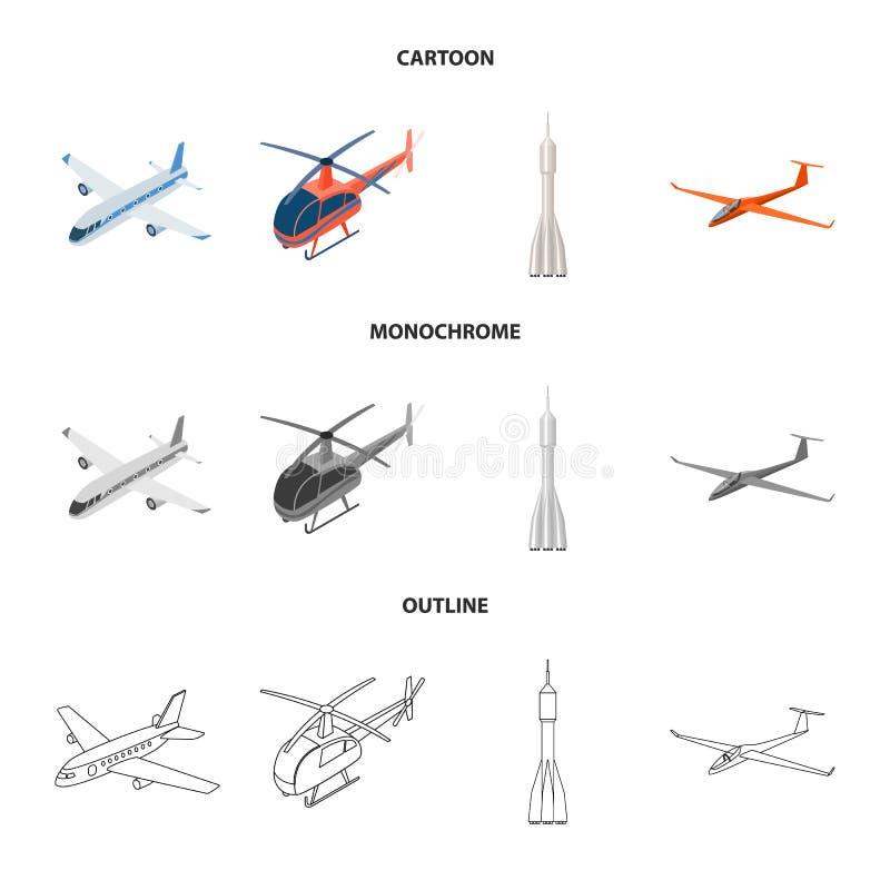 Odosobniony przedmiot transportu i przedmiota znak Set transport i szybownictwo akcyjna wektorowa ilustracja ilustracji