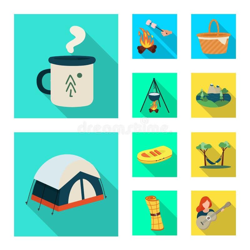 Odosobniony przedmiot trekking i przyroda znak Kolekcja trekking i czasu wolnego akcyjny symbol dla sieci royalty ilustracja