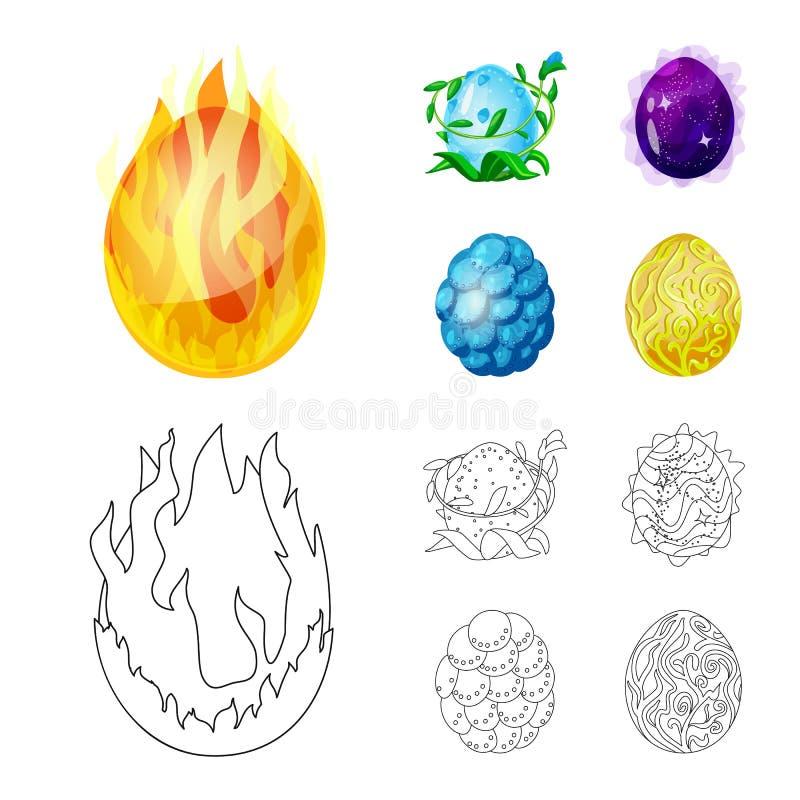 Odosobniony przedmiot zwierz?cy i prehistoryczny znak Set zwierz?ca i ?liczna wektorowa ikona dla zapasu ilustracji