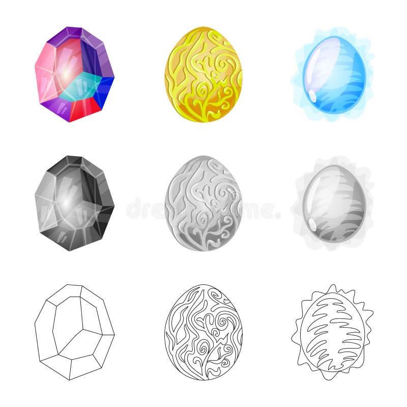 Odosobniony przedmiot zwierz?cy i prehistoryczny znak Set zwierz?ca i ?liczna wektorowa ikona dla zapasu royalty ilustracja