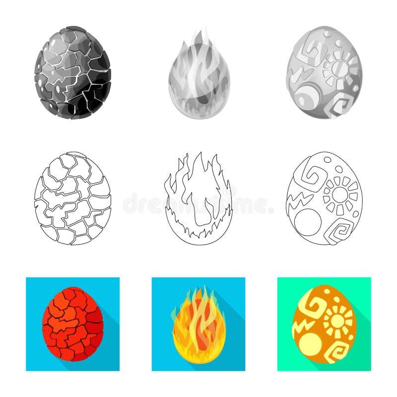 Odosobniony przedmiot zwierz?cy i prehistoryczny znak Set zwierz?cy i ?liczny akcyjny symbol dla sieci ilustracja wektor
