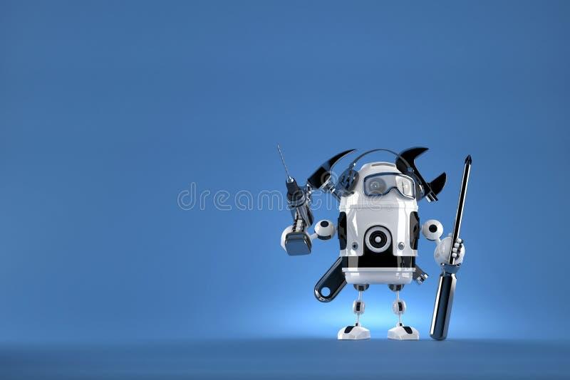 odosobniony robota biel pracownik Zawiera ścinek ścieżkę royalty ilustracja