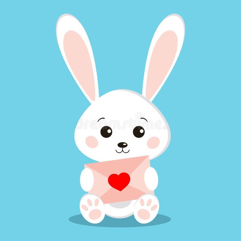 Odosobniony słodki śliczny biały królika królik w obsiadanie pozie z menchia listem royalty ilustracja