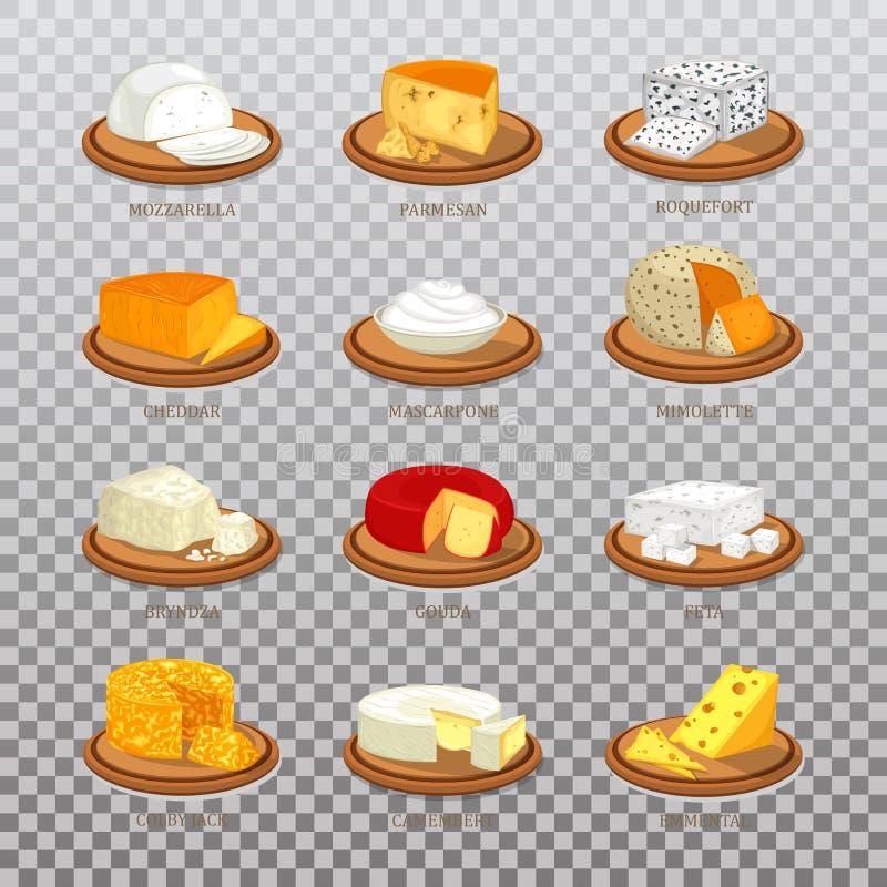 Odosobniony serowy jedzenie lubi parmesan i mozzarellę, roquefort ilustracji