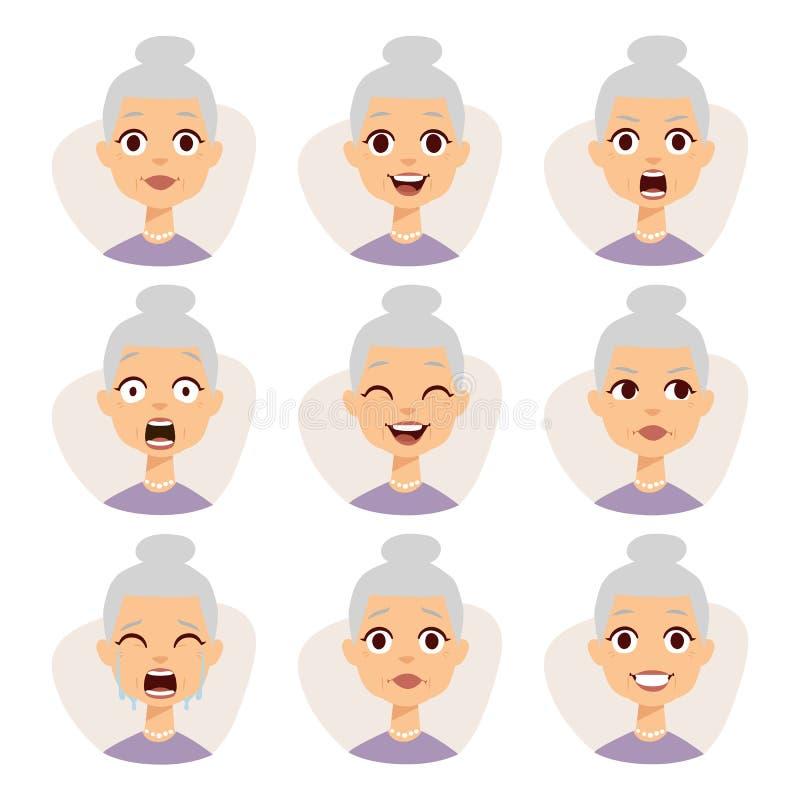 Odosobniony set śmieszni babci avatar wyrażenia stawia czoło emocja wektoru ilustrację ilustracji