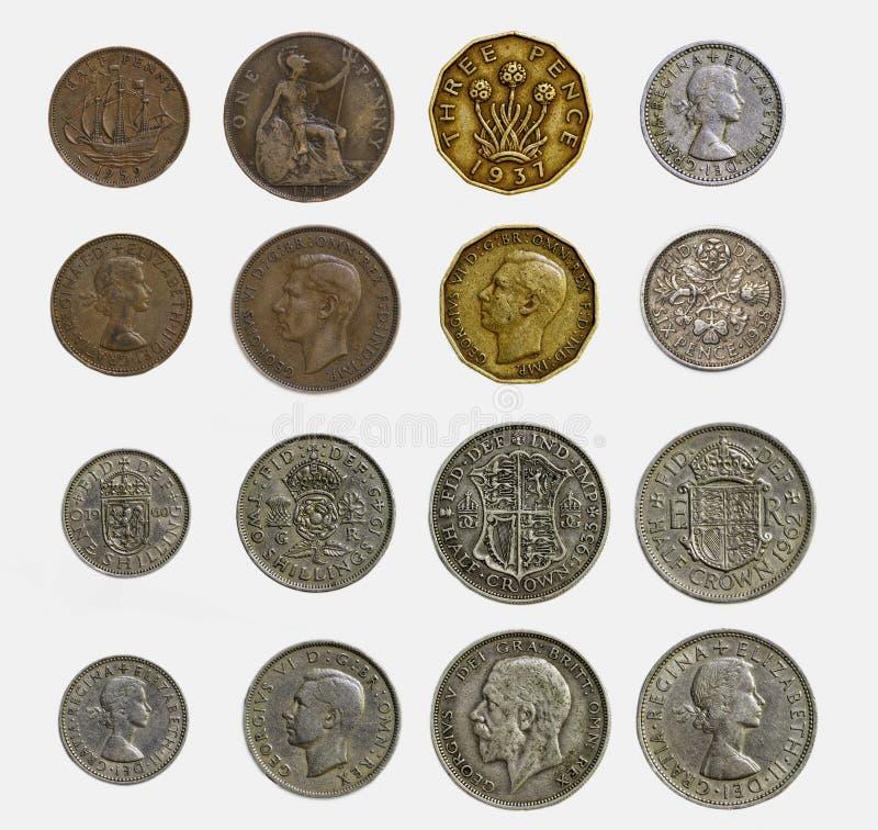 Odosobniony set dziesiątkowe Angielskie monety (zakończenie Up i Szczegółowy zdjęcia stock