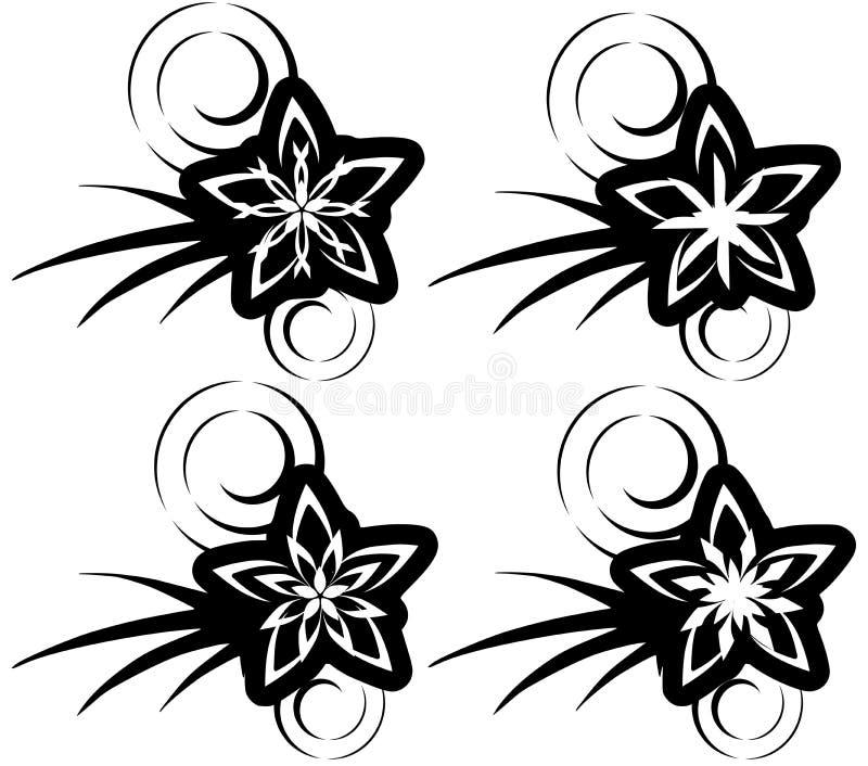 Odosobniony set mknących gwiazd tatuaż w czerni royalty ilustracja