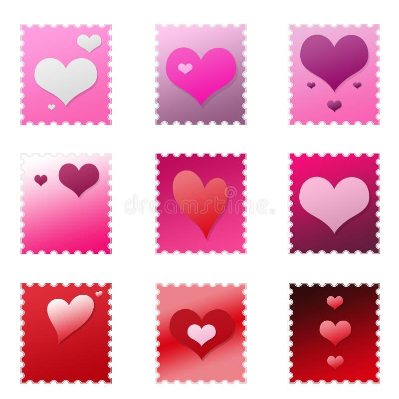 odosobniony set stempluje valentine ilustracji