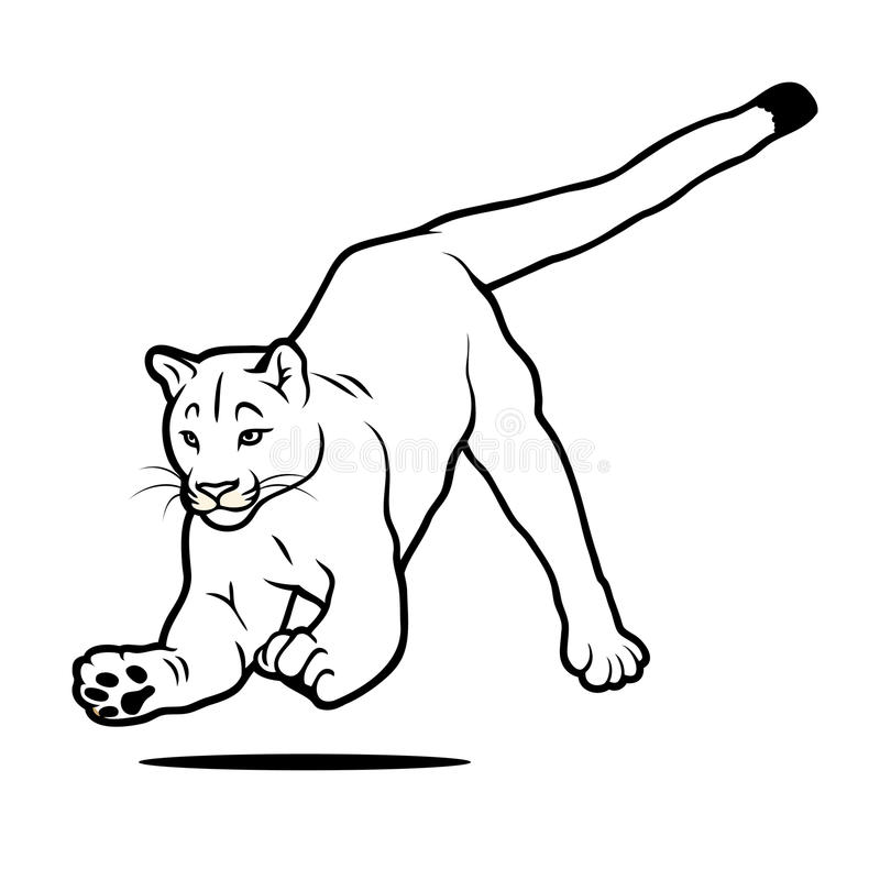 Odosobniony skokowy kuguar ilustracja wektor