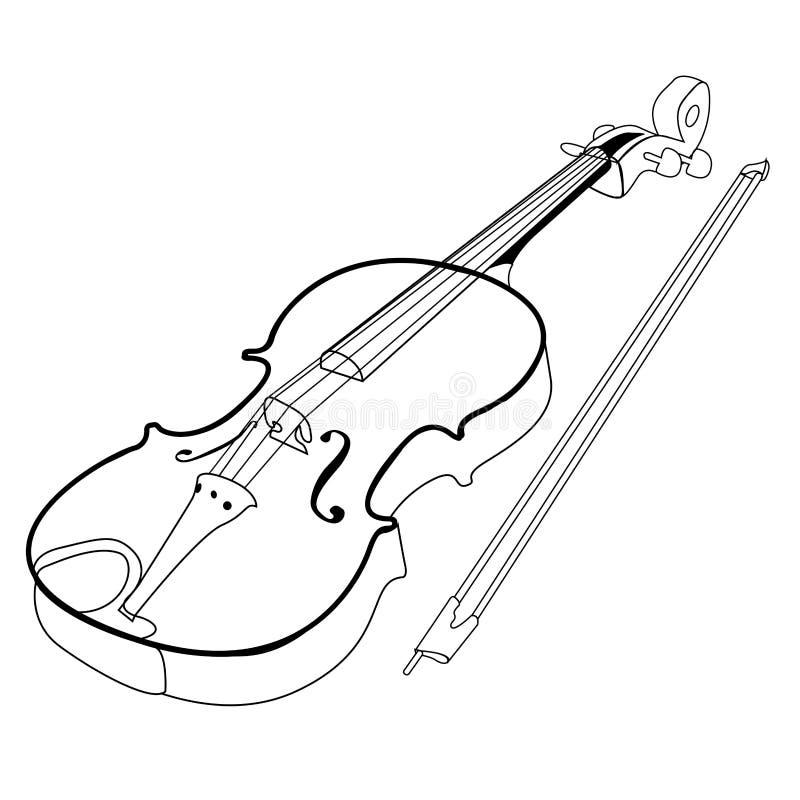 Odosobniony skrzypcowy kontur ilustracja wektor
