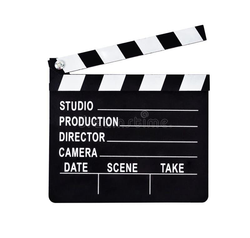 Odosobniony strzał pracowniany clapboard dla ekranowej produkci obrazy stock