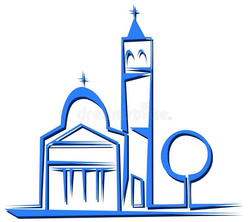 Odosobniony Stylizowany kościół w błękitnych brzmieniach ilustracji