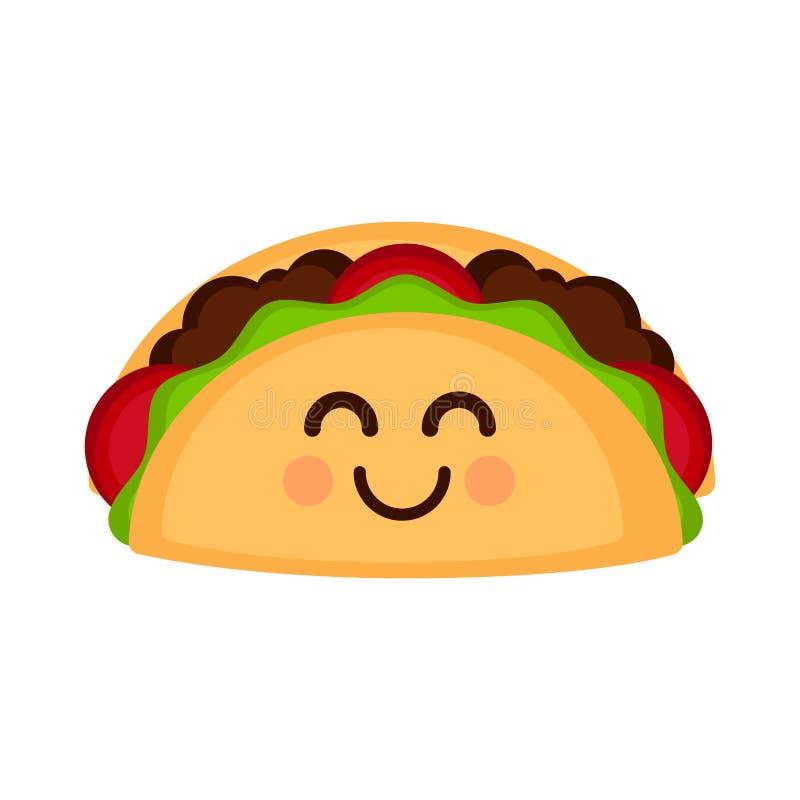 Odosobniony szczęśliwy taco emote royalty ilustracja