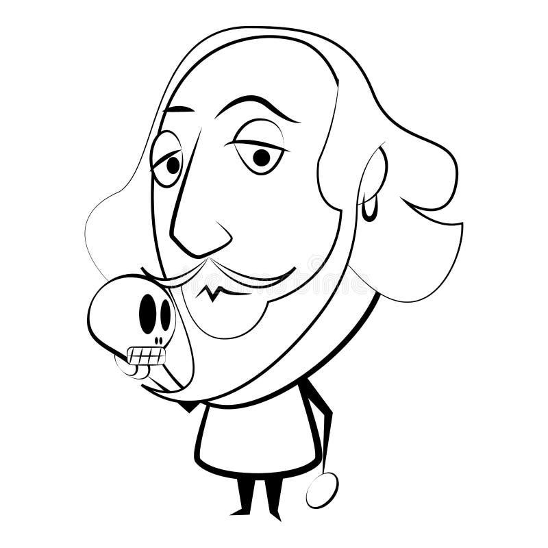 Odosobniony Szekspir kontur ilustracja wektor