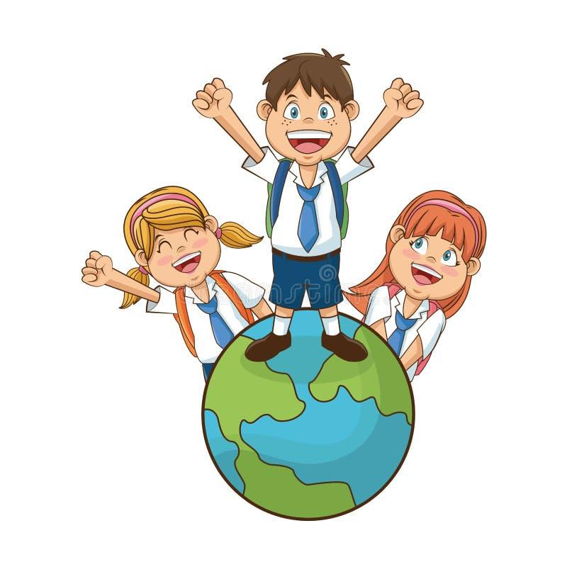 Odosobniony szkoła dzieciaków projekt ilustracja wektor
