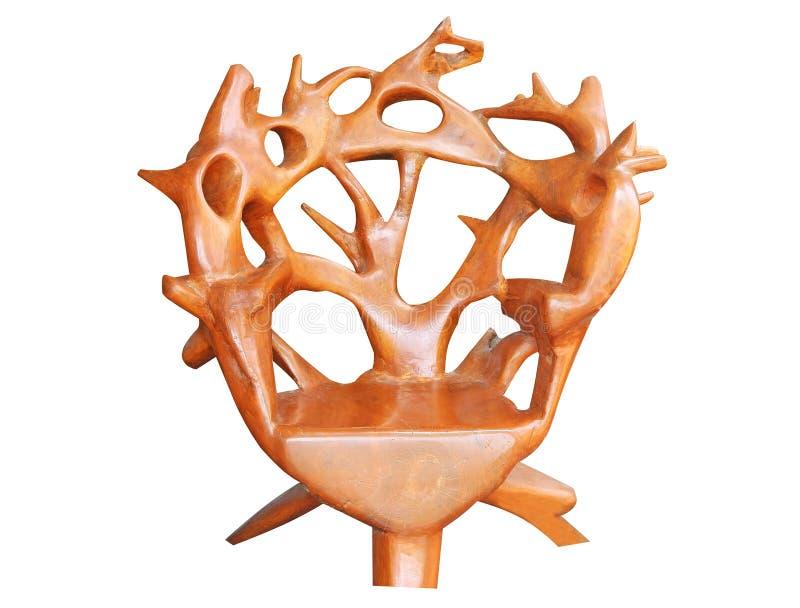 Odosobniony teakwood krzesło na białym tle zdjęcie royalty free