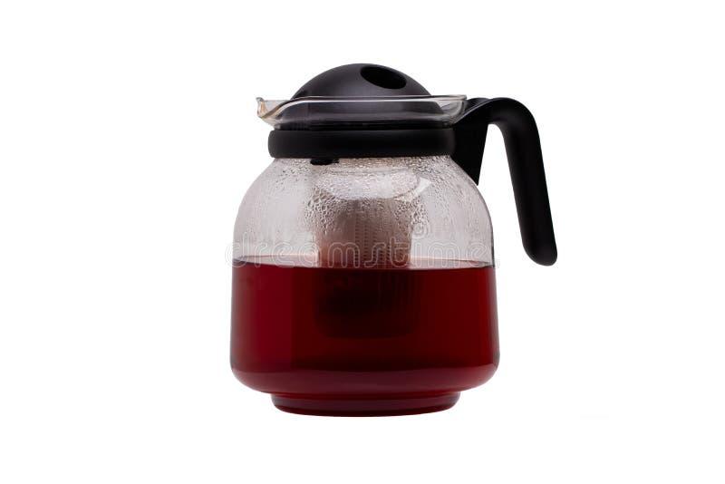 odosobniony teapot Szklany herbaciany producent z detachable plastikowym infuser odizolowywającym na białym tle Mikrofala szklany zdjęcia royalty free