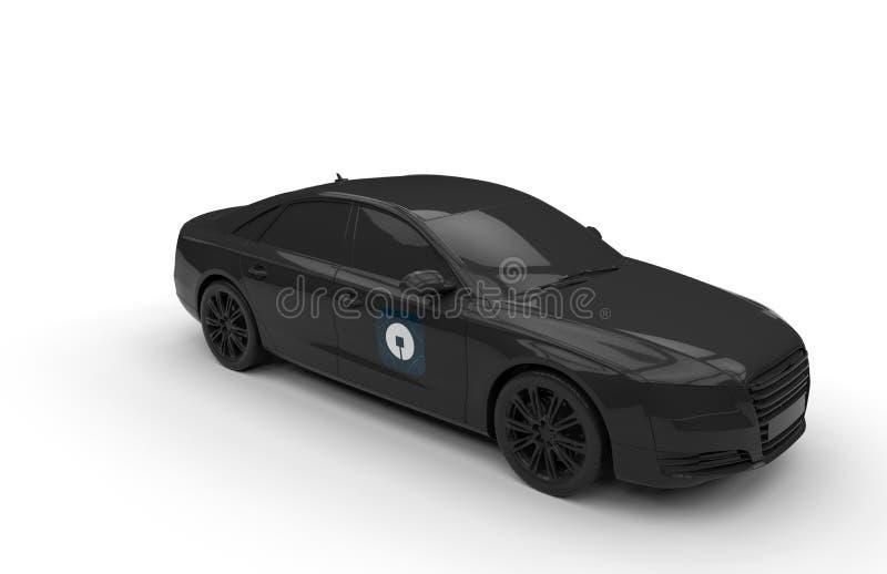 Odosobniony UBER czerni samochodu pojęcie ilustracja wektor