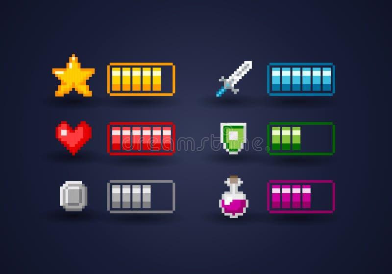 Odosobniony Vecor piksla sztuki gra wideo interfejsu ikony set ilustracja wektor